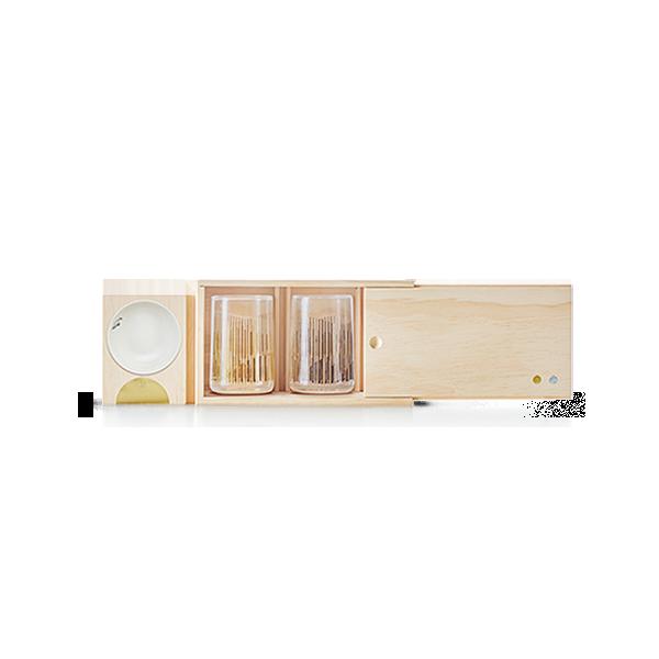 多功能木盒 神奇收納小酌用具|金銀啤酒對杯 (木盒組)