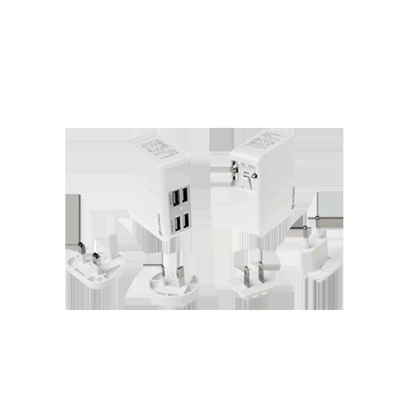 QC2.0 AI-Charger 4+萬國轉接頭 USB充電器 (贈送帆布收納包)