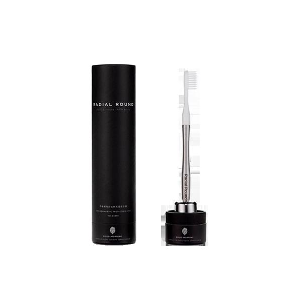 客製款|304不鏽鋼減塑牙刷 - 原鋼色 (1柄+1刷+1原鋼色底座)