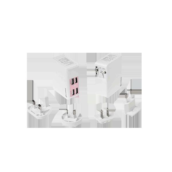 粉紅 QC2.0 AI-Charger 4+萬國轉接頭 USB充電器 (贈送帆布收納包)