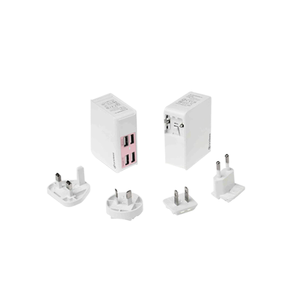 粉紅 QC2.0 AI-Charger 4+萬國轉接頭 USB充電器