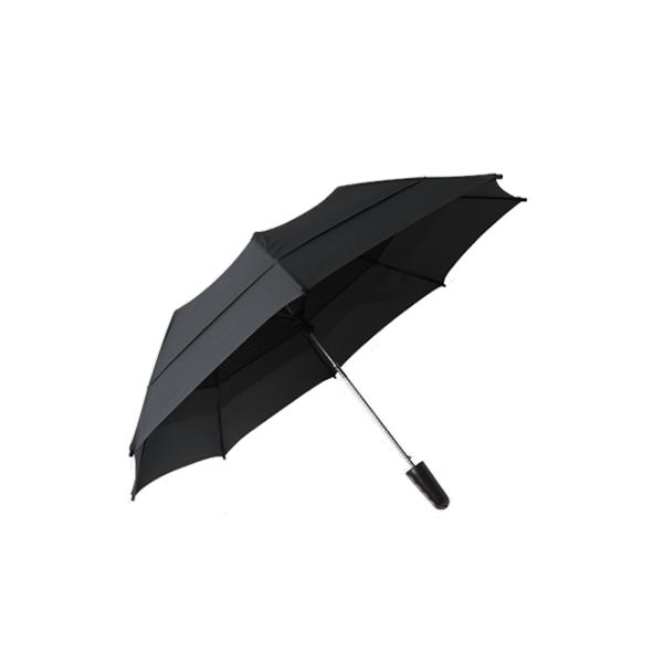 雙層抗風折疊傘 21吋 (黑)