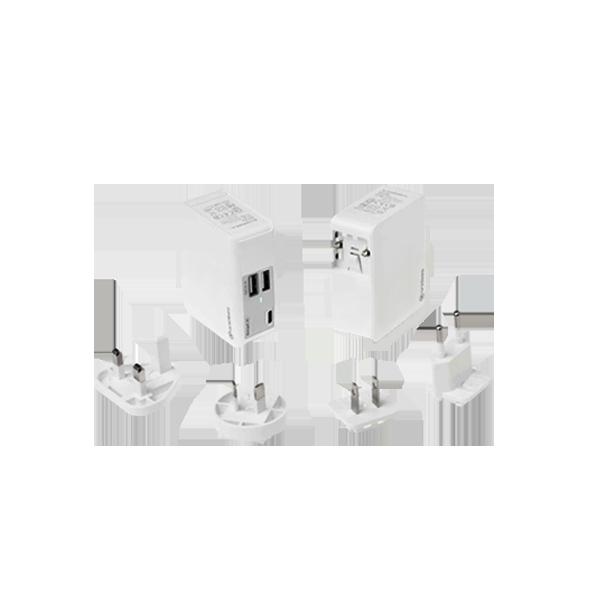 QC2.0 AI-Charger 3C +萬國轉接頭 USB充電器(2 USB孔 + 1 Type C) (贈送帆布收納包)
